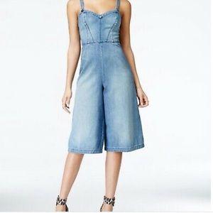 Guess Sz 2 denim wide leg crop overalls jumpsuit